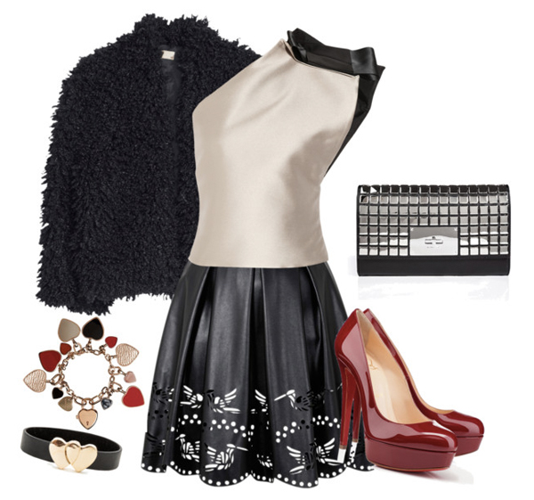 valentines-day-look-for-young-ladies-red-shoes-black-skirt-and-beige-blouse