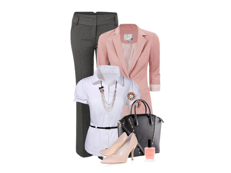 Комплект одежды: серые брюки, белая блузка, розовый пиджак, черная сумка, бежевые туфли, розовый лак для ногтей