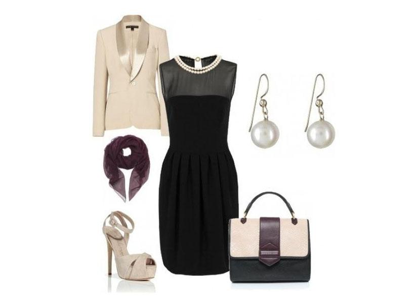 Черное платье, белые серьги, бежевые босоножки, бежевый пиджак