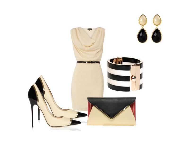 Бежевое платье, черные серьги, черно-бежевые туфли, черно-бежевая сумка, браслет
