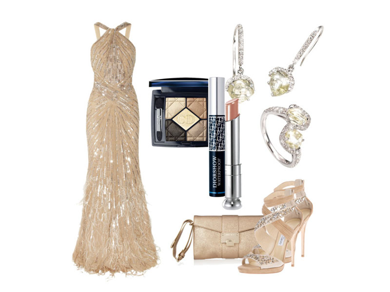 Бежевое вечернее платье, бежевые тени, бежевые босоножки, бежевая сумка, помада