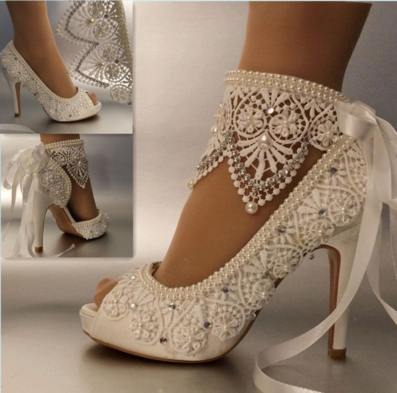 Свадебные туфли кружевные с манжетой на лодыжке