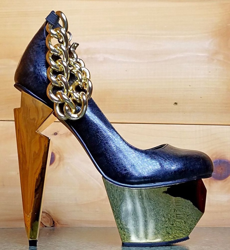 Black and gold chain heels