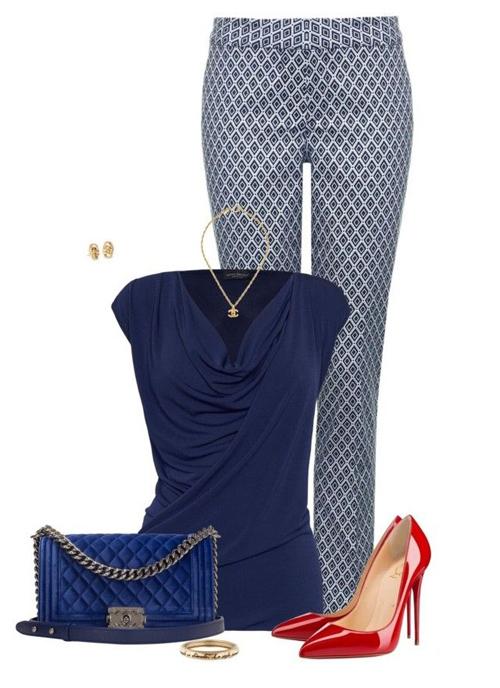 Красные лабутены с одеждой в синей гамме