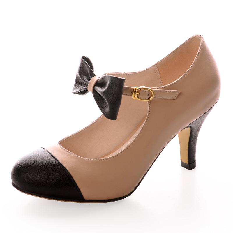 Туфли Мэри Джейн бежевые с черным бантом