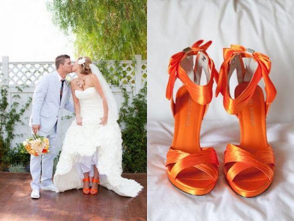 Оранжевые женские туфли на свадьбу