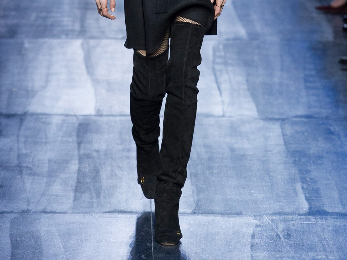 Черные сапоги от Кристиан Диор. Неделя моды в Париже. Осень-зима 2017- 2018