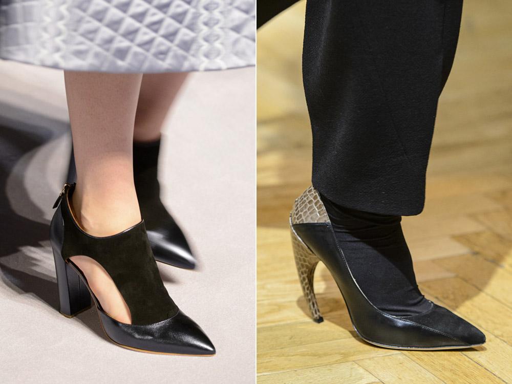 Черные туфли и изогнутый каблук