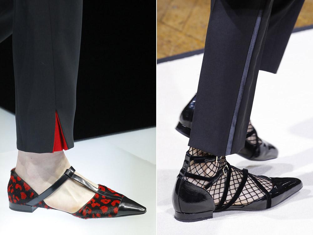туфли с острым носком на низком каблуке