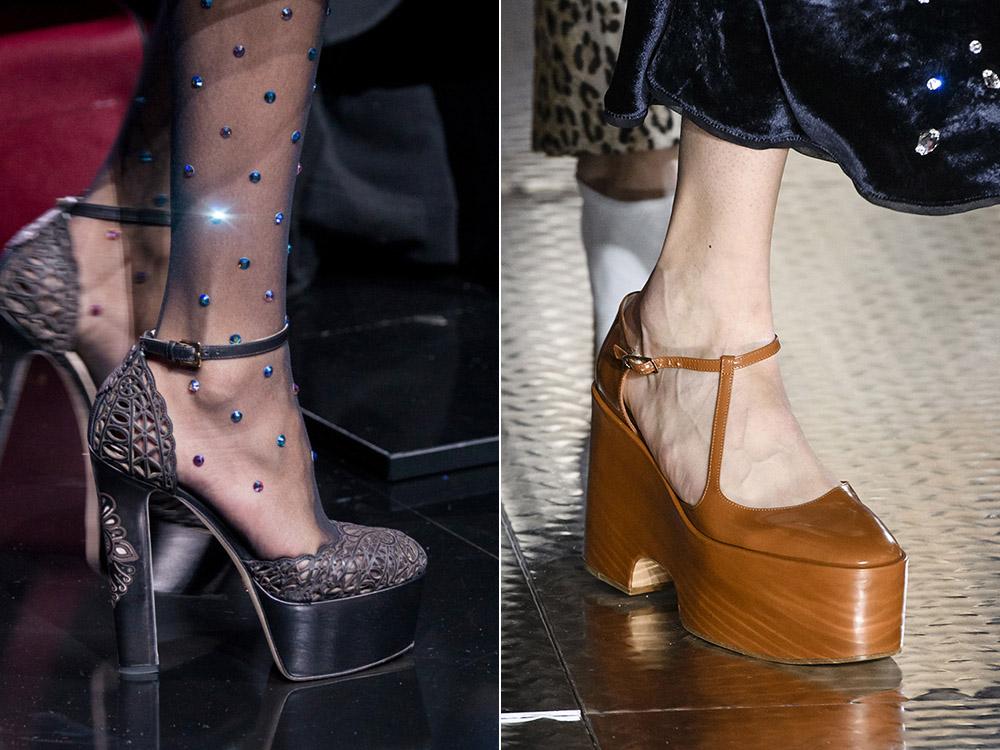 Туфли на платформе серебристые и бежевые
