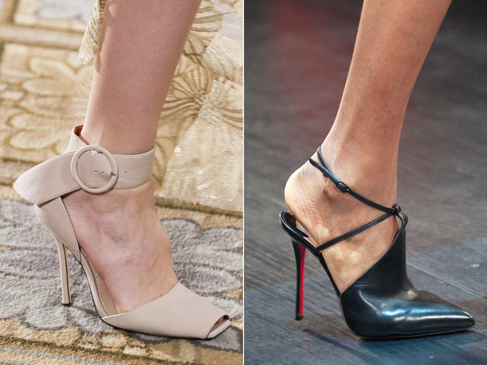 Открытые бежевые туфли и открытые черные туфли