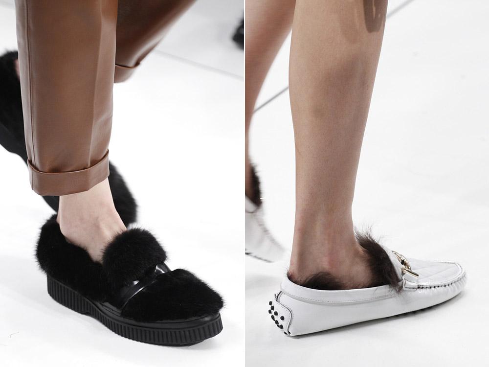 Черные женские туфли с мехом