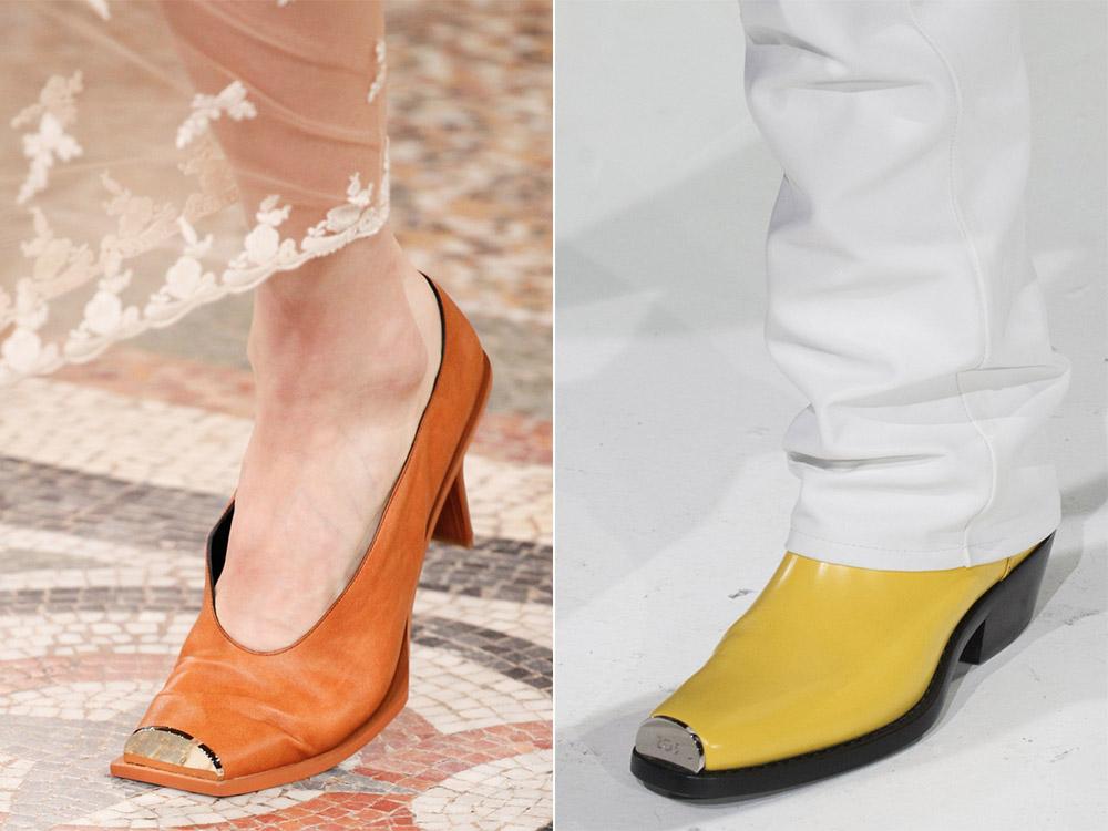 Оранжевые туфли с металлическим носом