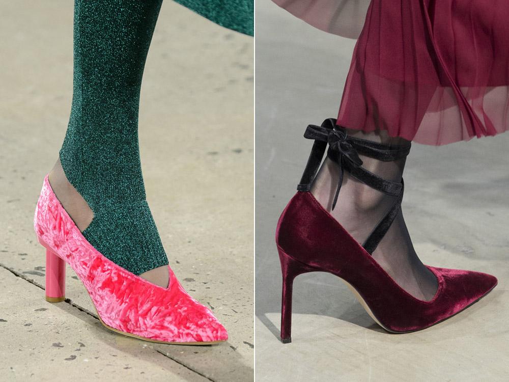 Розовые бархатные туфли и бардовые бархатные туфли