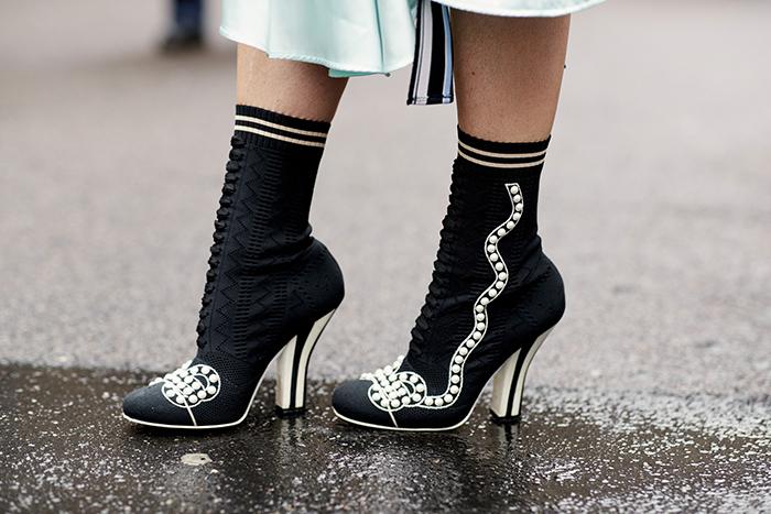 черные ботинки на каблуке, Милан. Неделя моды