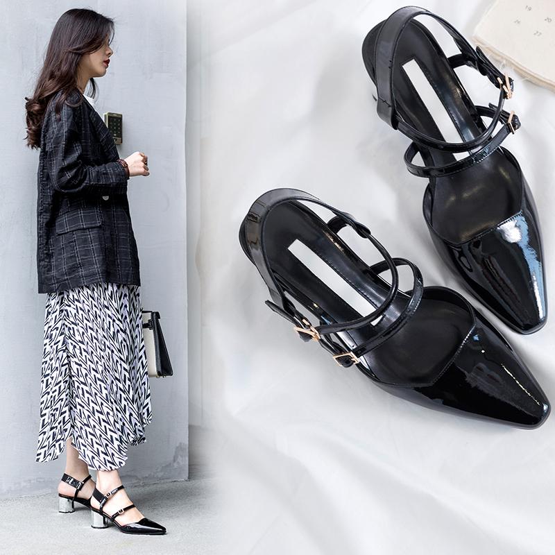 черные туфли на белом каблуке для работы