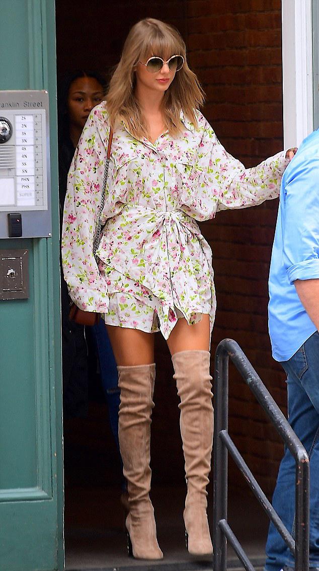 Летний стиль Тейлор Свифт с высокими сапогами до бедра