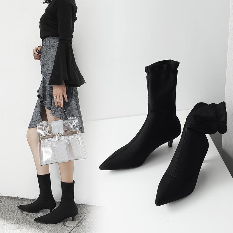 Комфортные и стильные сапоги носки Chiko Billi на низкой шпильке