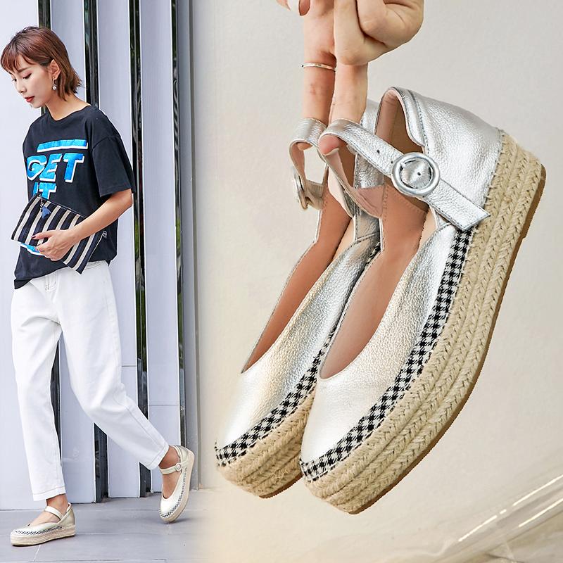 Эспадрильи AUDREE в виде туфель-лодочек с ремешками на толстой платформе