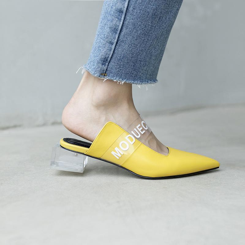 жёлтые мюли на блочном каблуке CHIKO ASPEN LUCITE