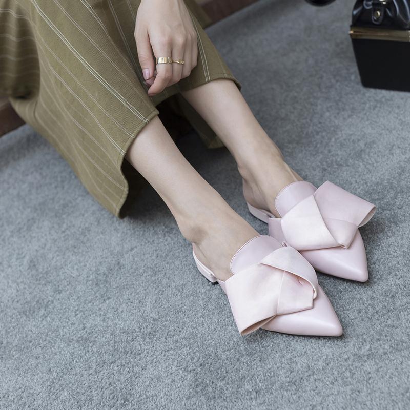розовые туфли мюли с бантом ALINA