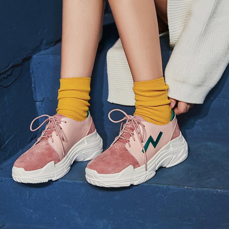 Розовые папины кроссовки на толстой платформе CHIKO BARNEE