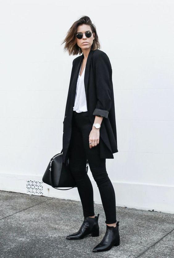 черные ботинки Chelsea и скинни-джинсы