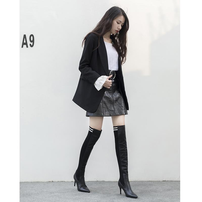 Черные Высокие сапоги-носки DAX